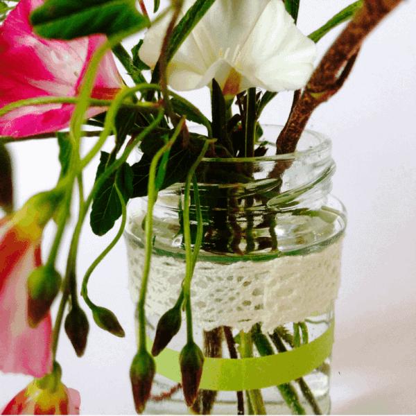 Washi jam jar vases