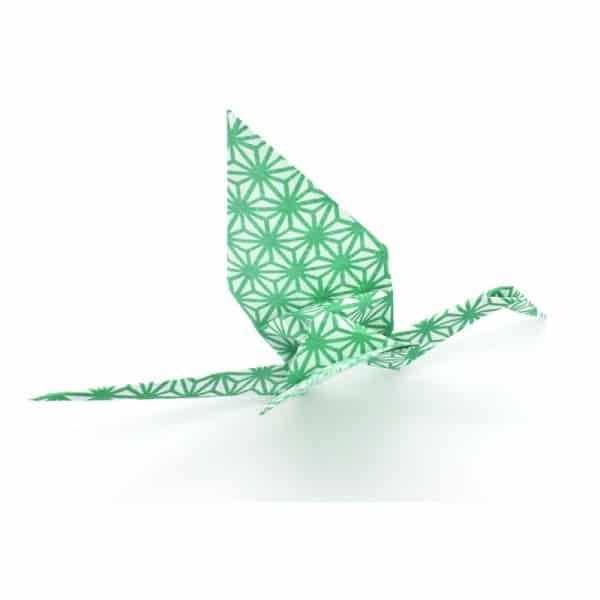 Handmade origami crane stork