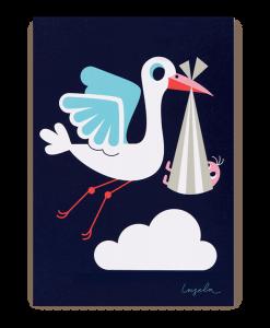 cute stork postcard