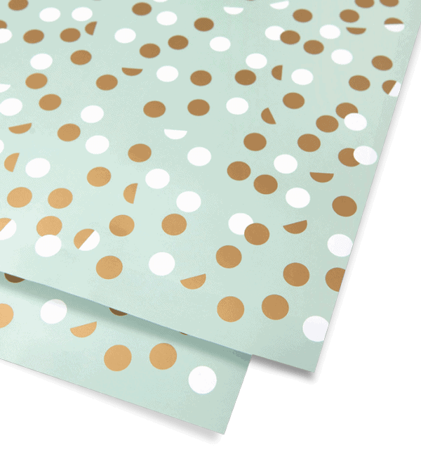 gold & white dot mint wrapping paper