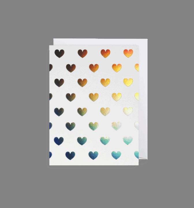 Iridescent hearts mini card